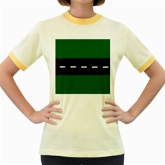 Road Street Green Black White Line Women s Fitted Ringer T Shirts by Mariart