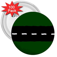 Road Street Green Black White Line 3  Buttons (100 Pack)