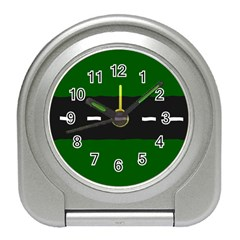 Road Street Green Black White Line Travel Alarm Clocks by Mariart