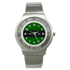 Road Street Green Black White Line Stainless Steel Watch by Mariart