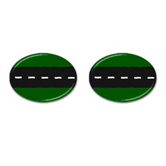 Road Street Green Black White Line Cufflinks (oval) by Mariart