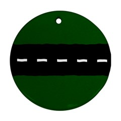 Road Street Green Black White Line Round Ornament (two Sides) by Mariart