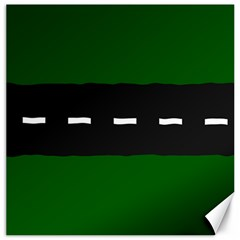 Road Street Green Black White Line Canvas 16  X 16   by Mariart