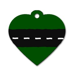 Road Street Green Black White Line Dog Tag Heart (one Side) by Mariart