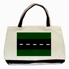 Road Street Green Black White Line Basic Tote Bag (two Sides) by Mariart