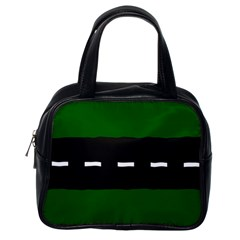 Road Street Green Black White Line Classic Handbags (one Side) by Mariart