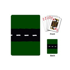 Road Street Green Black White Line Playing Cards (mini)  by Mariart