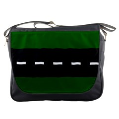Road Street Green Black White Line Messenger Bags by Mariart