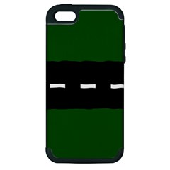 Road Street Green Black White Line Apple Iphone 5 Hardshell Case (pc+silicone) by Mariart