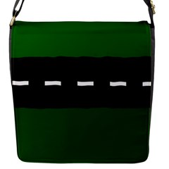 Road Street Green Black White Line Flap Messenger Bag (s) by Mariart