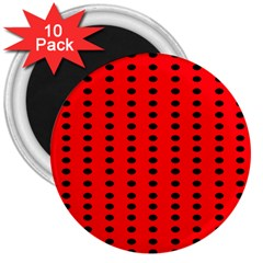 Red White Black Hole Polka Circle 3  Magnets (10 Pack)  by Mariart