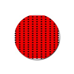 Red White Black Hole Polka Circle Rubber Coaster (round)