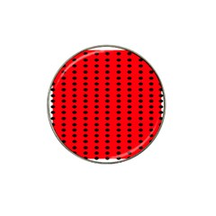 Red White Black Hole Polka Circle Hat Clip Ball Marker (4 Pack) by Mariart