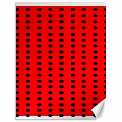 Red White Black Hole Polka Circle Canvas 18  X 24   by Mariart