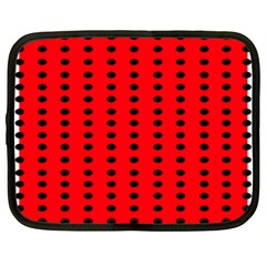 Red White Black Hole Polka Circle Netbook Case (xl)