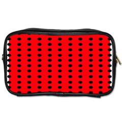 Red White Black Hole Polka Circle Toiletries Bags by Mariart
