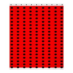 Red White Black Hole Polka Circle Shower Curtain 60  X 72  (medium)  by Mariart