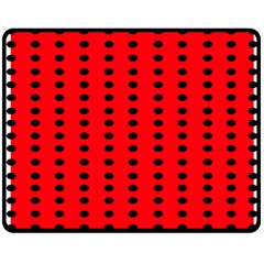 Red White Black Hole Polka Circle Double Sided Fleece Blanket (medium)  by Mariart