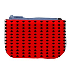 Red White Black Hole Polka Circle Large Coin Purse