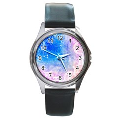 Horoscope Compatibility Love Romance Star Signs Zodiac Round Metal Watch by Mariart