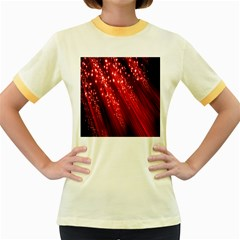 Red Space Line Light Black Polka Women s Fitted Ringer T Shirts by Mariart