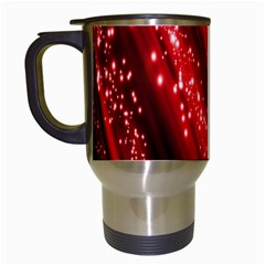 Red Space Line Light Black Polka Travel Mugs (white) by Mariart