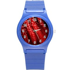 Red Space Line Light Black Polka Round Plastic Sport Watch (s) by Mariart