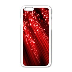 Red Space Line Light Black Polka Apple Iphone 6/6s White Enamel Case by Mariart