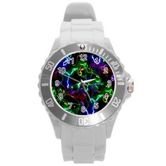 Saga Colors Rainbow Stone Blue Green Red Purple Space Round Plastic Sport Watch (l) by Mariart