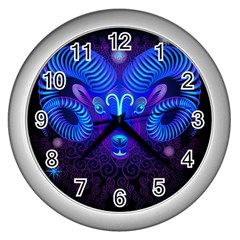 Sign Aries Zodiac Wall Clocks (silver)  by Mariart