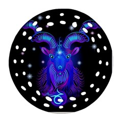 Sign Capricorn Zodiac Ornament (round Filigree) by Mariart