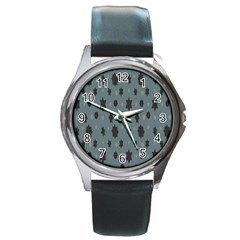 Star Space Black Grey Blue Sky Round Metal Watch