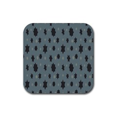 Star Space Black Grey Blue Sky Rubber Square Coaster (4 Pack)  by Mariart