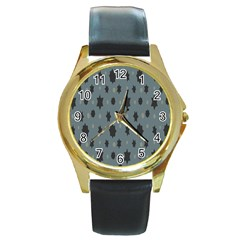 Star Space Black Grey Blue Sky Round Gold Metal Watch
