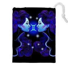 Sign Gemini Zodiac Drawstring Pouches (xxl) by Mariart