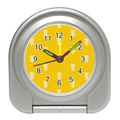 Waveform Disco Wahlin Retina White Yellow Vertical Travel Alarm Clocks