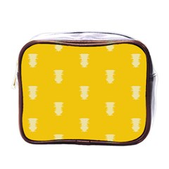 Waveform Disco Wahlin Retina White Yellow Vertical Mini Toiletries Bags by Mariart