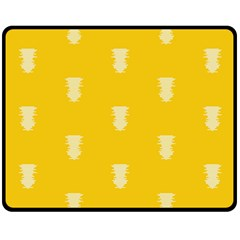 Waveform Disco Wahlin Retina White Yellow Vertical Double Sided Fleece Blanket (medium)  by Mariart