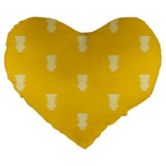 Waveform Disco Wahlin Retina White Yellow Vertical Large 19  Premium Flano Heart Shape Cushions by Mariart