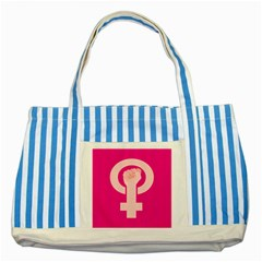 Women Safety Feminist Nail Strong Pink Circle Polka Striped Blue Tote Bag by Mariart