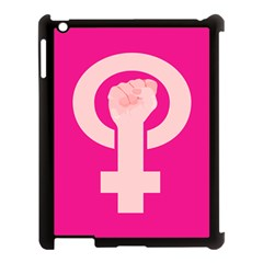 Women Safety Feminist Nail Strong Pink Circle Polka Apple Ipad 3/4 Case (black) by Mariart