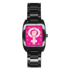 Women Safety Feminist Nail Strong Pink Circle Polka Stainless Steel Barrel Watch by Mariart