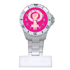 Women Safety Feminist Nail Strong Pink Circle Polka Plastic Nurses Watch by Mariart