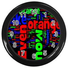 Writing Color Rainbow Wall Clocks (black) by Mariart