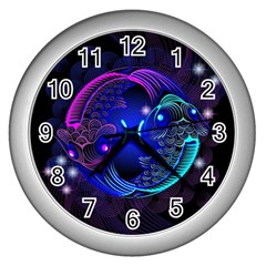 Sign Pisces Zodiac Wall Clocks (silver)  by Mariart