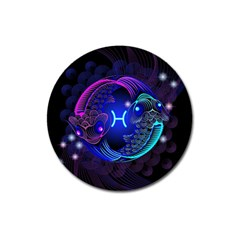 Sign Pisces Zodiac Magnet 3  (round) by Mariart