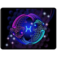Sign Pisces Zodiac Fleece Blanket (large)  by Mariart