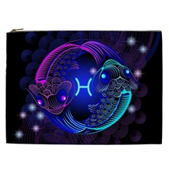 Sign Pisces Zodiac Cosmetic Bag (xxl)  by Mariart
