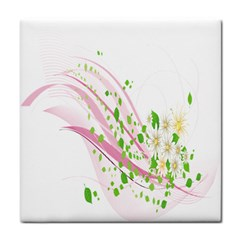 Sunflower Flower Floral Leaf Line Wave Chevron Pink Tile Coasters by Mariart