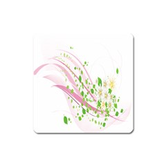 Sunflower Flower Floral Leaf Line Wave Chevron Pink Square Magnet by Mariart